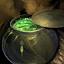 Topf mit Grünkohl-Geflügelsuppe